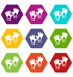 Gloves of goalkeeper icon set color hexahedron vector