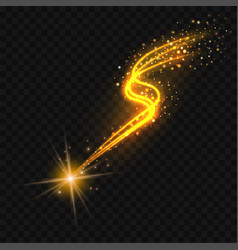 gold falling star with glittering trail vector image