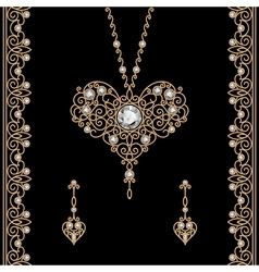 Gold jewelry set on black vector