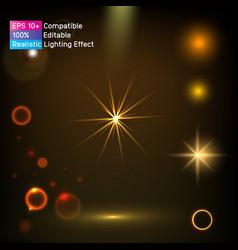 Golden light sparkle glitter shine glow flashes vector