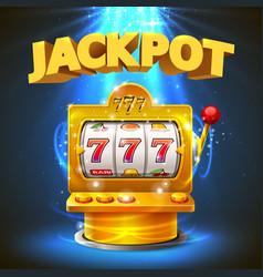 Golden slot machine wins the jackpot vector