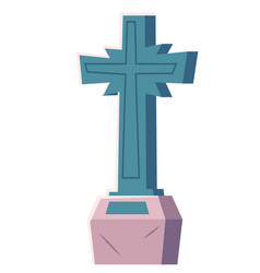 gravestone cross cemetery christian tombstone vector image
