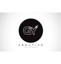 Gy modern leter logo design with black and white vector