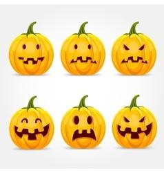 halloween pumpkin making expressions vector image