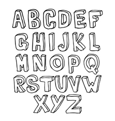 Hand drawn 3D alphabet vector