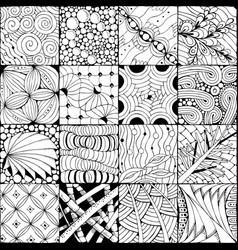 Hand drawn zentangle background for coloring pag vector