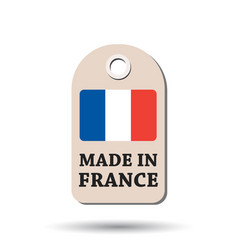 hang tag made in france with flag on white vector image