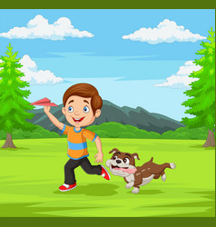 Happy boy playing paper airplane with his pet vector