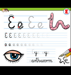 how to write letter e workbook for children vector image