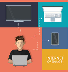 Internet things man working laptop technologies vector