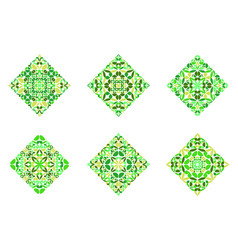Isolated colorful floral diagonal square symbol vector