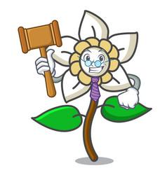 Judge jasmine flower mascot cartoon vector