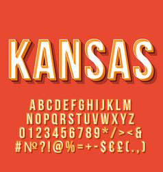 Kansas vintage 3d lettering retro bold font vector