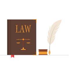 Law book with quill pen and inkwell vector
