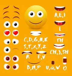 Male emoji mouth animation design elements vector