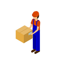 male with cardboard parcel production line worker vector image