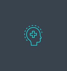 mental health concept blue line icon simple thin vector image