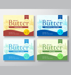 milk butter dairy labels collection abstract vector image