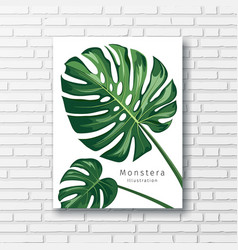 monstera leave print white frame on block wall vector image