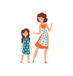 Mother and her daughter mom having a good time vector