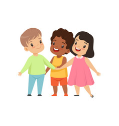 Multicultural little kids standing together vector