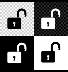 open padlock icon isolated on black white and vector image