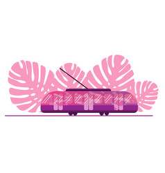 pink tram on background leaves pink vector image