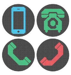 Pixel phone icons vector image