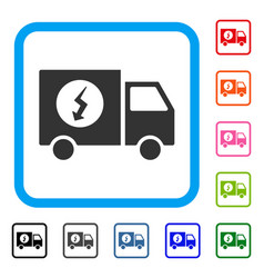 power supply van framed icon vector image