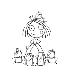 Princess and Many Prince Frogs Portrait Coloring vector image