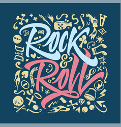Print for a rock and roll t-shirt on a closely vector