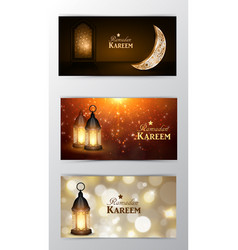 Ramadan kareem greeting card banners set vector