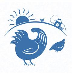 rooster emblem 3 vector image