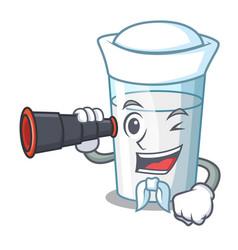 Sailor with binocular fresh milk glass in cartoon vector