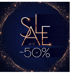 sale banner gold metal design shining advertising vector image