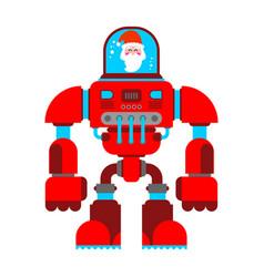 Santa robot exoskeleton grandfather claus cyborg vector