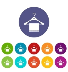 Scarf on coat hanger set icons vector