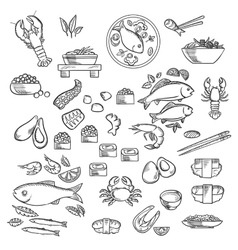 Seafood and delicatessen sketched icons vector