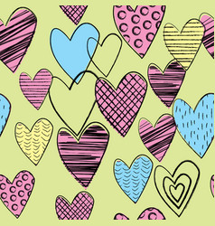 seamless background with doodle colored hearts vector image