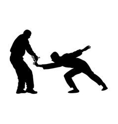 Self defense against aggressor with gun silhouette vector