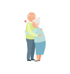 senior man and woman embracing each other vector image