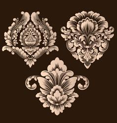 Set damask ornamental elements elegant vector