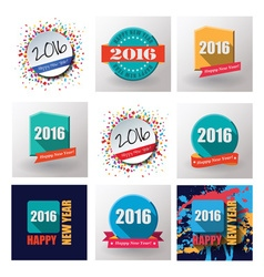 Set of Happy New Year 2016 flat labels and stamps vector image