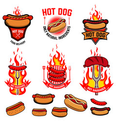 set of hot dog fried sausages emblems street food vector image