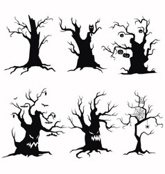 set of tree silhouettes for halloween vector image