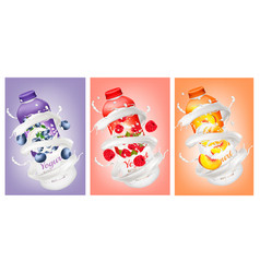 Set of yogurts with berries and fruit falling vector