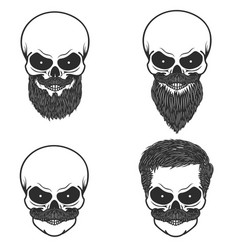 set skull with hairstyle beardmoustache design vector image