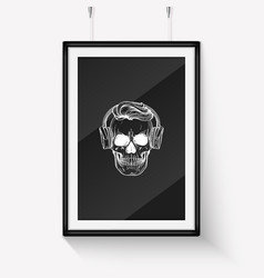 Sketch angry skull line art vector
