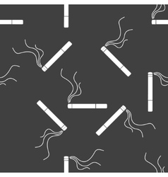 Smoking sign cigarette flat design Seamless gray vector image