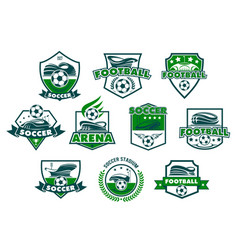 Soccer club badge with football stadium and ball vector